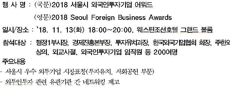 2018 서울시 외국인투자기업 어워드